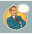 Joyful retro businessman label sticker outline vector image vector image