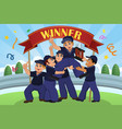 kids lifting up trophy vector image