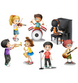 Kids playing different instruments vector image