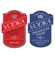 labels for vodka with inscriptions and crown vector image vector image