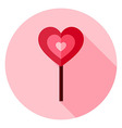 Love Heart Shaped Sweet Lollipop Circle Icon vector image