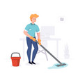 man from cleaning company staff cleans office vector image vector image