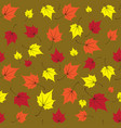 maple leaves seamless green orange art vector image vector image