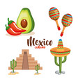 mexican culture set icons vector image vector image