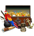 old pirate chest with treasures vector image vector image