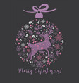 postcard with a deer in a christmas ball vector image