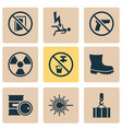 protection icons set with radioactive keep door vector image