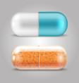 realistic pills design - drugs capsules vector image