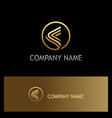 round stripe triangle gold logo vector image