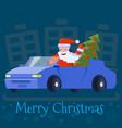 santa claus drives a car with an elegant christmas vector image vector image