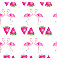 seamless pattern with flamingos and watermelons vector image vector image