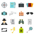 spy tools set flat icons vector image vector image