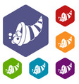 thanksgiving cornucopia icons set vector image