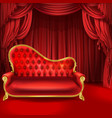theater concept red sofa scene curtains vector image