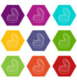 tin of earthworms icons set 9 vector image