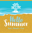 travel banner with sea beach sand and palms vector image vector image