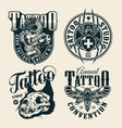 vintage monochrome tattoo studio labels vector image vector image