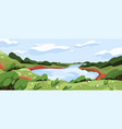 wild nature landscape with green grass water sky vector image
