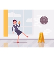 Woman with a smartphone slipps on the wet floor vector image vector image