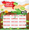 2017 Calendar Starts Sunday Jungle Concept vector image
