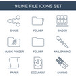 9 file icons vector image vector image