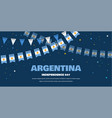argentina flags bunting on night background vector image vector image