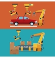 automated production line robotic factory banner vector image vector image