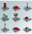 bbq color gradient isometric icons vector image