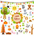 big autumn set with cute animals vector image vector image