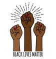 black lives matter female hands protest against vector image vector image