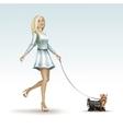 blonde woman girl in fashion dress walking dog vector image vector image