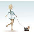 Blonde Woman Girl in Fashion Dress Walking the Dog vector image vector image