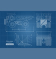blueprint of mining dumper side back and front vector image vector image