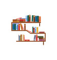 bookcase bookshelf with books library shelves vector image