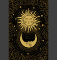 celestial golden crescent moon pattern with face vector image vector image