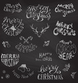 Chalkboard Christmas icons and festive elements vector image vector image
