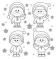 children in christmas santa claus costumes vector image