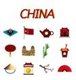 China flat icons set vector image vector image