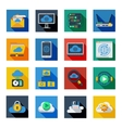 Cloud Service Icons In Colorful Squares vector image