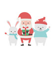 cute santa with gift and rabbit bear merry vector image vector image