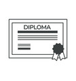 diploma degree obtaining certificate for vector image