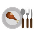 dish with chicken thighs and cutleries vector image vector image