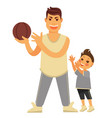 father plays basketball with young son in vector image