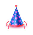 festive cap with hearts isolated vector image vector image