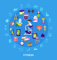 fitness round flat composition vector image vector image