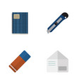 flat icon stationery set of letter copybook vector image vector image