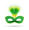 Green carnival mask with fluffy feathers isolated vector image vector image