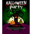Halloween poster with scary old tree vector image vector image