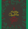 hand drawn christmas greeting card template card vector image vector image