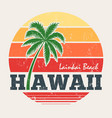 hawaii lanikai beach tee print with palm tree vector image vector image